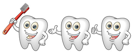 Smiling tooth mascot with a tooth-brush  Clean teeth for health concept  Perfect for a dental or tooth fairy illustration  Vector illustration   Vector