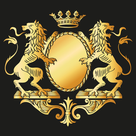 Floral Frame  Two Lions and Crown  Vector Illustration  Vector