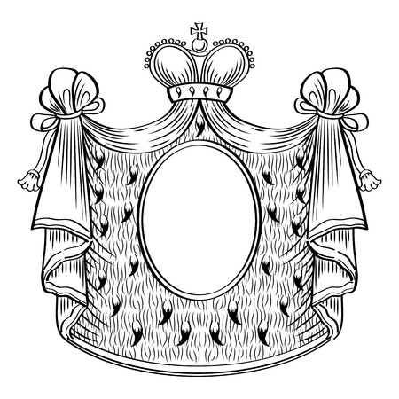mantle: Heraldic shield  Royal mantle and crown  Vector Illustration  Illustration