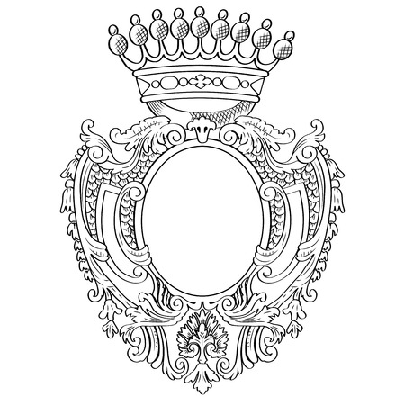 mantle: Heraldic shield and crown  Vector Illustration