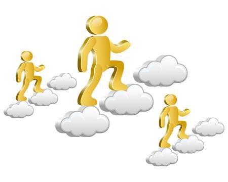 Humains isométriques marcher sur les nuages ??Vector Illustration
