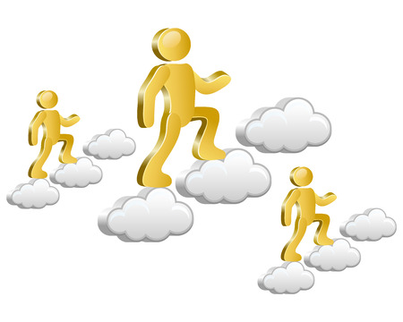 Isometric humans walking up on the clouds  Vector Illustration