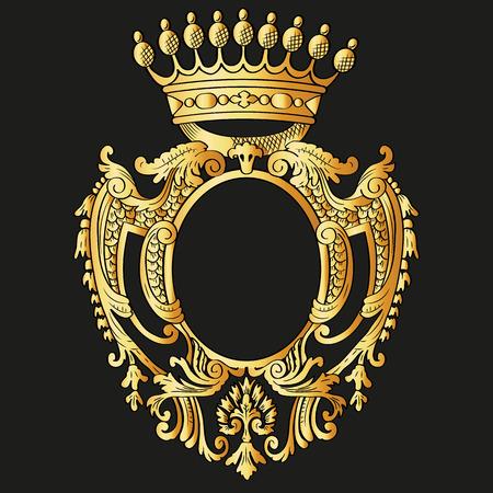 Heraldic shield and crown  Vector Illustration