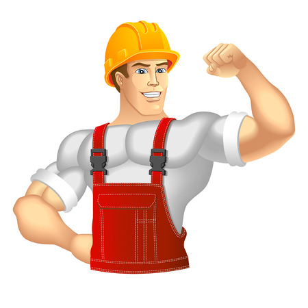 construction hat: Construction Worker  Vector illustration