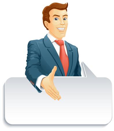 Smiling businessman gives a hand for a handshake Illustration