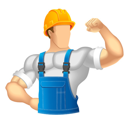 workwear: Unknown construction worker  Vector illustration