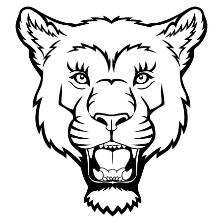 undomesticated: A Lion head logo. This is vector illustration ideal for a mascot and tattoo or T-shirt graphic.