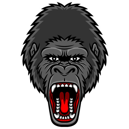 monster face: A Gorilla head logo. This is vector illustration ideal for a mascot and tattoo or T-shirt graphic.