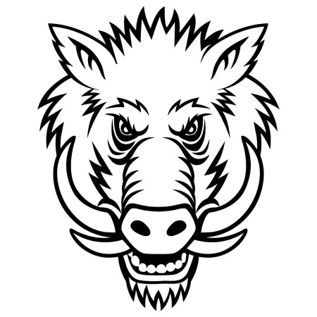 warthog: A Warthog head. This is vector illustration ideal for a mascot and tattoo or T-shirt graphic.