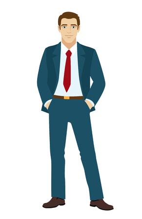 pockets: Businessman holding hands in pockets. Vector illustration.