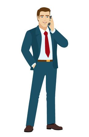 standing businessman: Businessman talking on the phone. Businessman holding hand in pocket. Vector illustration. Illustration