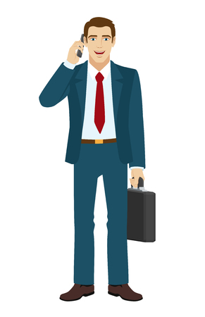 phone and call: Businessman talking on the phone. Businessman holding briefcase. Vector illustration.