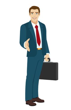 acquaintance: Businessman gives a hand for a handshake. Businessman holding briefcase. Vector illustration.