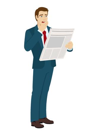 bad news: Shocked businessman reading a newspaper. Bad news. Vector illustration. Illustration