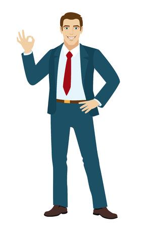 okay: OK! Smiling businessman show a okay hand sign. Vector illustration. Illustration