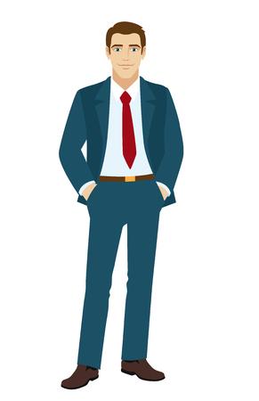 lighthearted: Smiling businessman holding hands in pockets. Vector illustration.