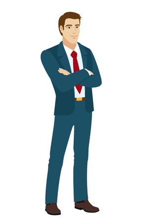 Businessman crossing his arms over his chest. Illustration