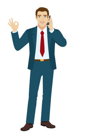 hablando por telefono: ¡DE ACUERDO! Sonriente hombre de negocios muestran una muestra de la mano bien. Hombre de negocios hablando por teléfono. Vectores