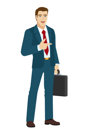 somewhere: Businessman pointing a finger somewhere. Businessman holding briefcase.