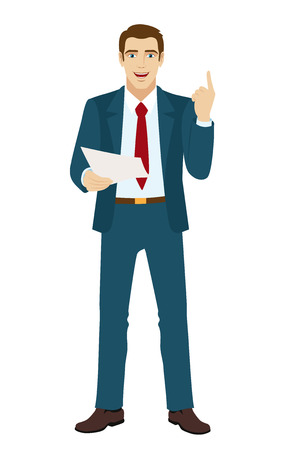 Businessman pointing up. Businessman holding a paper.