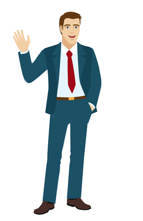 acquaintance: Businessman greeting someone with his hand raised up.