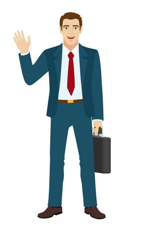 hand raised: Businessman greeting someone with his hand raised up. Businessman holding briefcase.