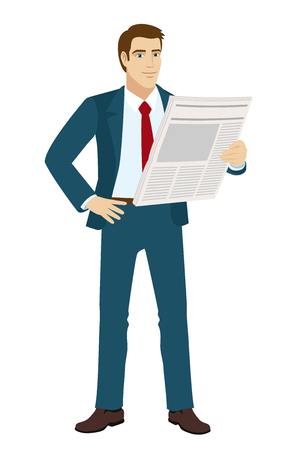 reading newspaper: Businessman reading a newspaper. Illustration