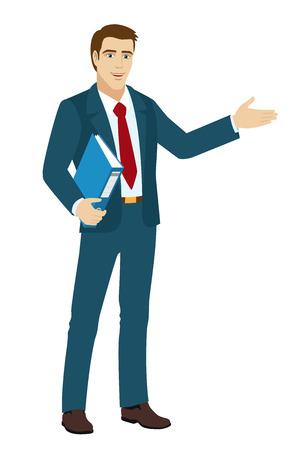 standing man: Businessman shows something beside of him. Businessman holding a folder. Vector illustration.