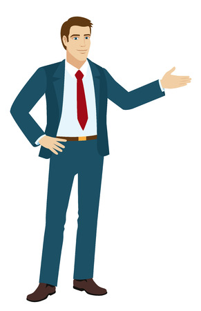 Businessman shows something beside of him. Vector illustration.