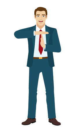interruption: Businessman showing time-out sign with hands. Vector illustration.