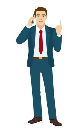 standing businessman: Businessman pointing up. Businessman talking on the phone. Vector illustration. Illustration