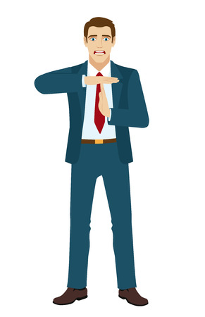 timeout: Businessman showing time-out sign with hands. Vector illustration.
