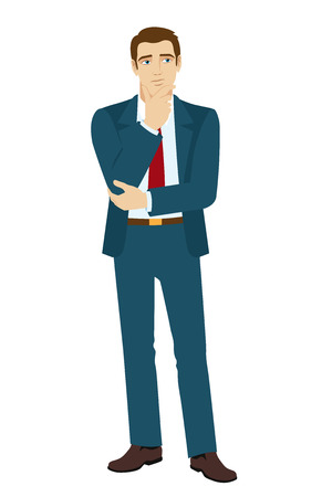 Businessman thinks about something. Vector illustration.?
