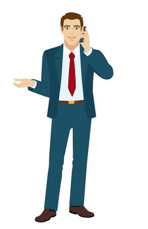 hablando por telefono: Hombre de negocios gestos. Hombre de negocios hablando por teléfono. Ilustración del vector.