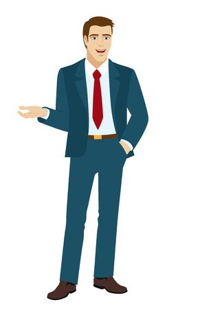 gesticulation: Businessman gesturing. Businessman holding one hand in his pocket. Vector illustration. Illustration