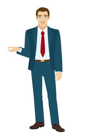 Imprenditore gesto. Uomo d'affari tiene la mano palmo verso l'alto. Illustrazione vettoriale.
