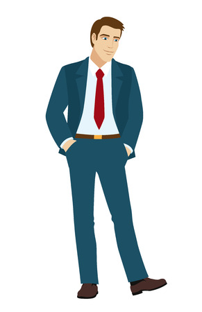 businessman shoes: Businessman looks at shoes. Businessman holding hands in pockets. Vector illustration. Illustration