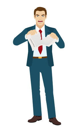 angry businessman: Angry Businessman tearing contract. Vector illustration.