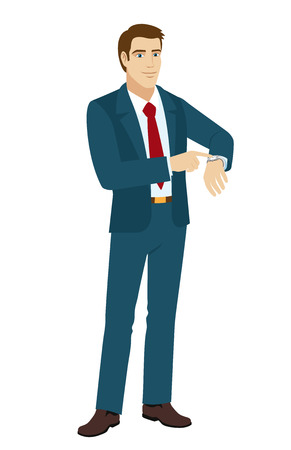 timekeeper: Businessman pointing at his watch. Vector illustration. Illustration