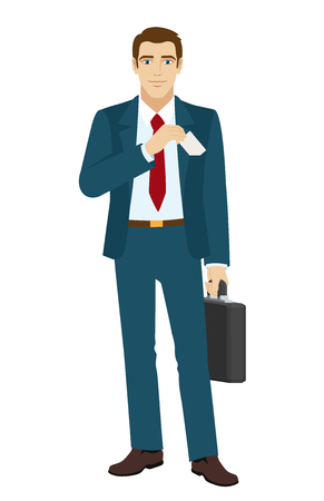 businesscard: Businessman puts the business-card in his pocket. Businessman holding briefcase. Vector illustration. Illustration