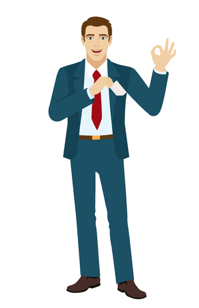 okay: OK! Smiling businessman show a okay hand sign. Businessman puts the business-card in his pocket. Illustration
