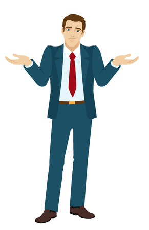 uncertain: I dont know. Businessman with an I dont know gesture. Businessman shrugging.