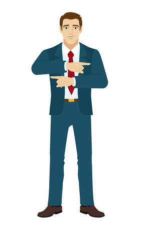 somewhere: Businessman showing two directions. Two index fingers pointing. Businessman showing somewhere.