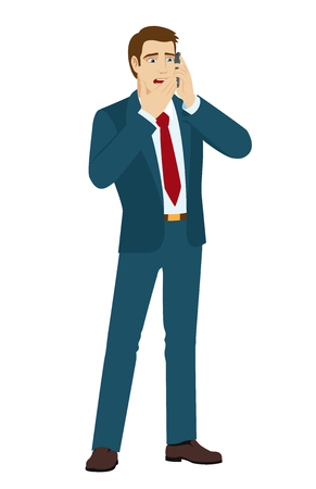 shocking: Shocking message. Shocked businessman talking on mobile phone. Vector illustration.