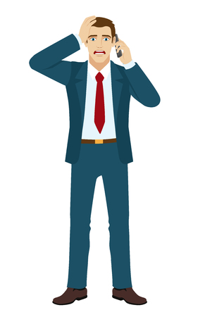 shocking: Shocking message. Shocked businessman talking on mobile phone. Vector illustration.