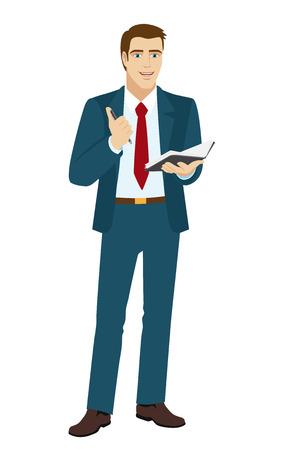 pocketbook: Businessman with pen and pocketbook. Vector illustration.
