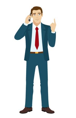 standing businessman: Businessman pointing up. Businessman talking on the phone. Businessman looking up. Vector illustration. Illustration