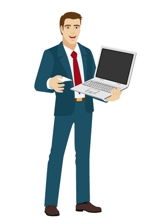 businesscard: Businessman giving a business-card. Businessman holding laptop notebook. Vector illustration.