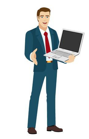 acquaintance: Businessman holding laptop notebook. Businessman gives a hand for a handshake. Vector illustration.