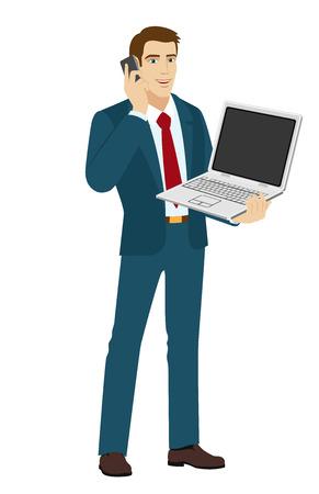 standing businessman: Businessman talking on the phone. Businessman holding laptop notebook. Vector illustration.